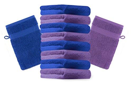 Betz Lot de 10 Gants de Toilette Taille 16x21 cm 100% Coton Premium Couleur Lila, Bleu Royal