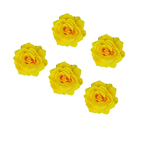 QFDM Women's Hair Accessories 5pcs Rose Forma de Pelo Clips para el Cabello Broche de Flores Doble Uso del Cabello para la Playa Viajes Blanco Amarillo Rojo Rosado Rosa Hairpin (Color : Yellow)