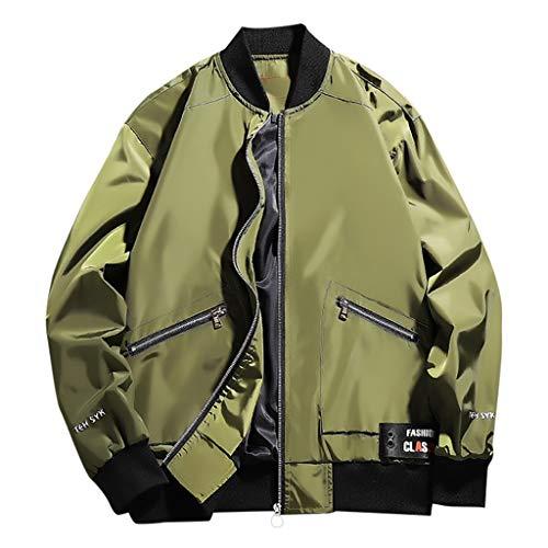 MAYOGO Herren Wasserdicht Winddichte Outdoor Jacke Casual Regenjacke Light Jacket Übergangsjacke Sweatjacke Laufen Sportjacke Baseball Jacke (Grün, XXXL)
