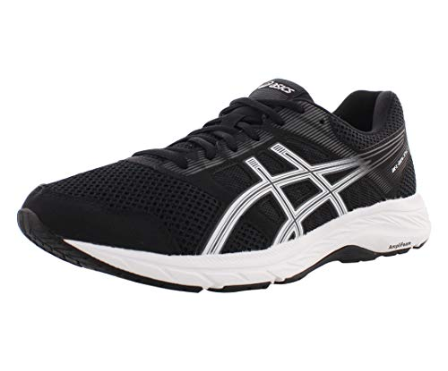 ASICS Men's Gel-Contend 5 Running Shoes, 10.5XW, Black/White