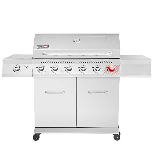 Royal Gourmet GA6402S Premier 6 BBQ Stainless Steel Propane Gas Grill with Sear Side Burner Cabinet Style Outdoor Party Cooking, Silver