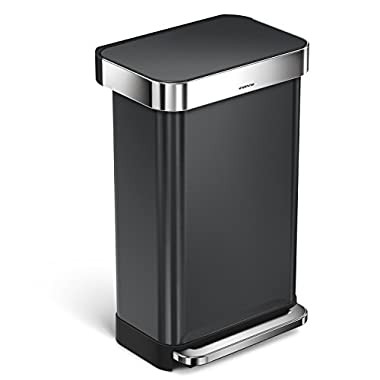 simplehuman 45 Liter/12 Gallon Stainless Steel Rectangular Kitchen Step Trash Can with Liner Pocket, Black Stainless Steel