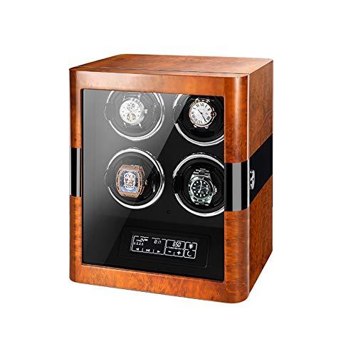 Zyy Automático Cajas Giratorias para Relojes con Tranquilo Motor, por 4 Relojes, Pantalla Táctil Digital LCD Y 5 Modos De Roating, Pintura De Piano Bobinadora para Relojes (Color : B)