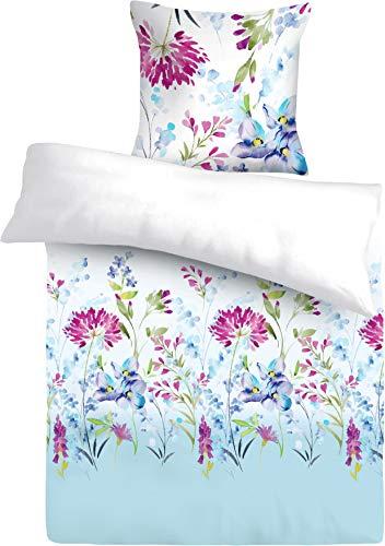 FAKTOR - 2 │Premium Bettwäsche-Set (2-teilig) Weiß-blau mit Blumen, Bettdeckenbezug 135x200, Kopfkissenbezug 80x80, mit praktischem Reißverschluss, Renforce 100% Baumwolle, Öko-Tex