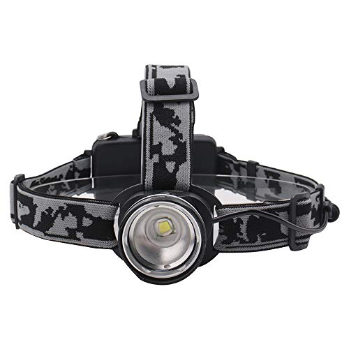 SUNSHIN T6 avec LED Trois Modes phares de Zoom Haute Puissance 3000lm tête Lampe de Poche 18650 Lampe de Poche Rechargeable de Chasse,Noir