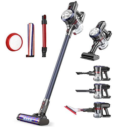 Dibea Upgraded 24KPa Cordless Stick Vacuum Cleaner Powerful Suction Bagless Lightweight Rechargeable 5 in 1 Handheld Car Vacuum for Carpet Hard Floor, Navy Blue D18Pro