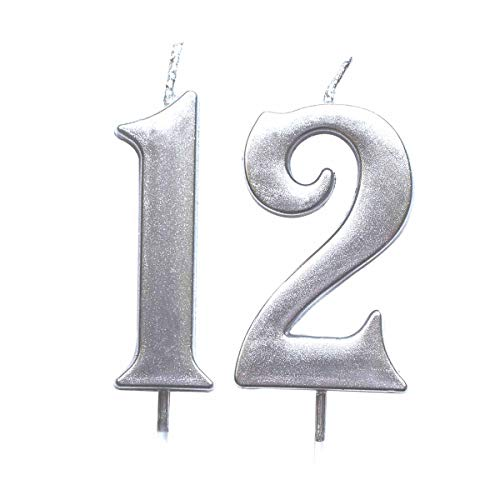 MAGJUCHE Silver 12th Birthday Numeral Candle, Number 12 Cake Topper Candles Party Decoration for Girl Or Boy