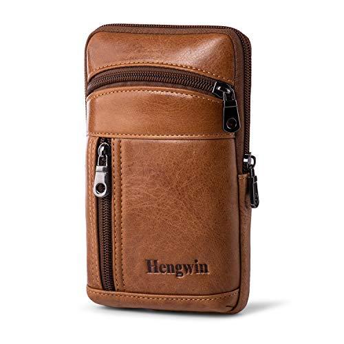Un très utile ceinture en cuir souple sac à main avec 3 poches zip et boucle de ceinture.