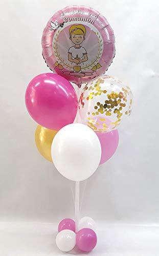Centro de mesa para comunión formado por globos de látex y poliamida especial para decoración de Comuniones.Tamaño 120 cm (Niña)