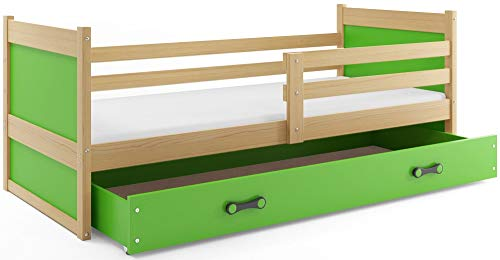 Interbeds Children's single bed RICO 190 x 90 pine + variations, wooden slatted base, without mattress (Green)