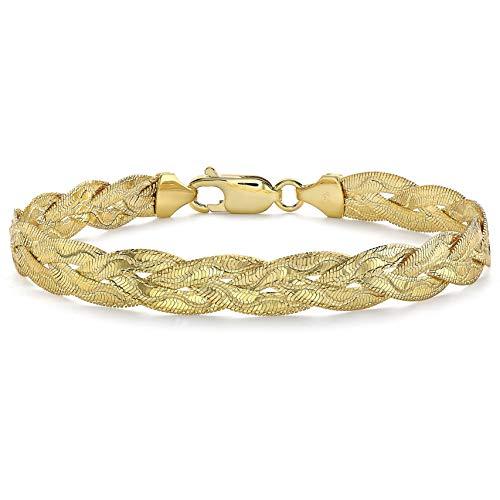 Carissima Gold - Pulsera de oro amarillo de 9 quilates con corte de diamante de onda de 3 trenzas de espiga - 18 cm