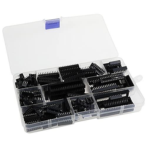 150 unidades de 2,54 mm sin doble fila DIP IC Sockets tipo de soldador adaptador surtido Kit 6/8/14/16/18/20/24/28 Pin con caja de almacenamiento
