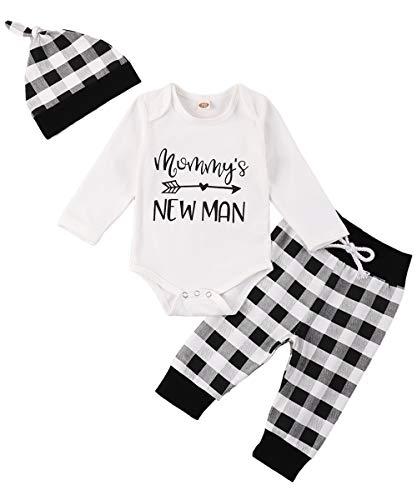 Newborn Baby Boy Clothes Pant Set Mommy's New Man Romper Top+ Grid Pant + Hat Set Newborn Black White