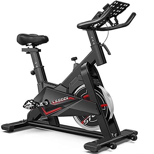 indoor cycles LABODI Exercise Bike, Stationary Indoor Cycling Bike, Cycle Bike for Home Cardio Gym, Belt Drive Workout Bike with 35 LBS Flywheel, Thickened Frame Upgraded Version