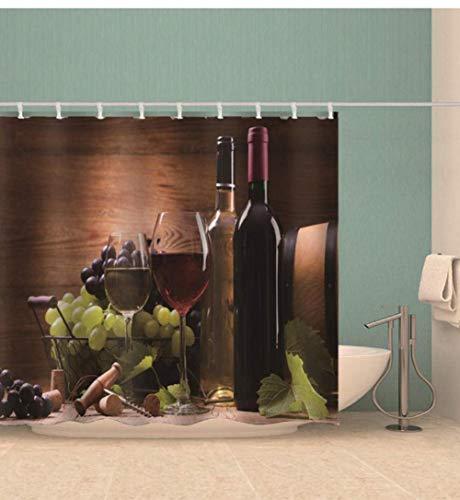 ZDPLL Cortina de casa de banho Vino Tinto Material Resistente à água, duradoura com Estampado Digital, poliéster com 12 anéis 150x200cm