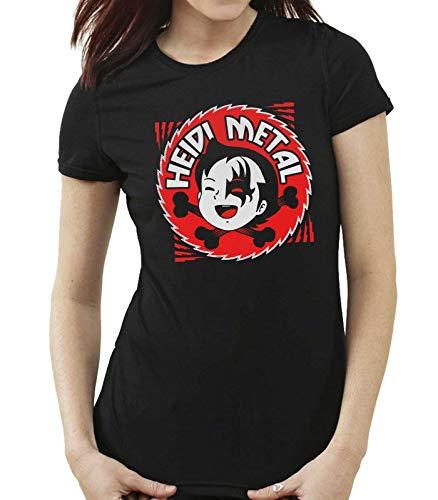 35mm - Camiseta Mujer Heidi Metal - Rock - Punk - Divertida - Negro - Talla XXL