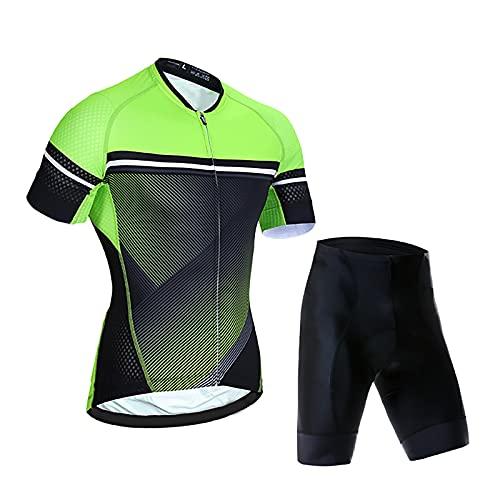 LSZ Conjunto De Maillot De Ciclismo y Culotte Corto con Tirantes Transpirable De Secado Rápido Pro Team Ropa De Ciclismo para Bicicleta De Carretera MTB (Color : B, Talla : Small)