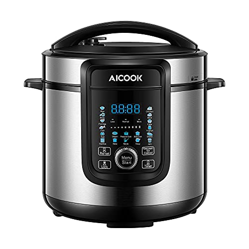 AICOOK 18-in-1 Electric Pressure Cooker, 6 Qt, Slow Cooker, Rice Cooker, Soup Maker, Steamer, Saute, Multi-Use Programs, 9 Accessories and Recipe Include