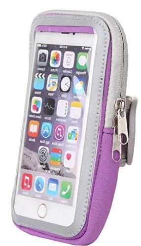 Sport-Armband Oberarm Tasche passend für Motorola Moto G7 Plus / G7 Play / G7 / G6 Play / G6 Handy Halterung Fitness-Hülle, Tasche mit großem Fach Jogging, Dealbude24 Arm-Tasche Groß Lila