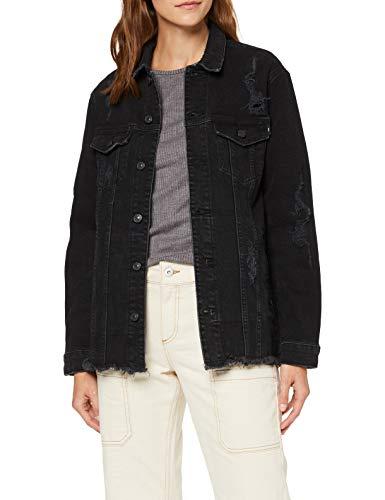 LTB Jeans Damen Deloris Jeansjacke, Schwarz (Leana Wash 51793), 34 (Herstellergröße: XS)