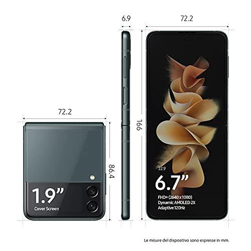"Samsung Galaxy Z Flip3 5G, Caricatore incluso, Smartphone Sim Free Android Telefono Pieghevole 256GB Display Dynamic AMOLED 2X 6,7""/Super AMOLED 1,9"" Green 2021 [Versione Italiana]"