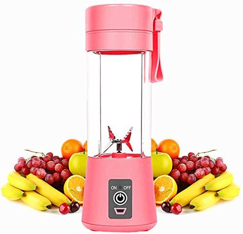 Mixer 380ML Tragbar Entsafter Mini Standmixer Blender Klein Smoothie Maker mit 6 Edelstahlmesser, USB Wiederaufladbar, für Smoothies, Obst und Gemüse, Zuhause, Büro, Sport, BPA frei (Pink, FC1603)