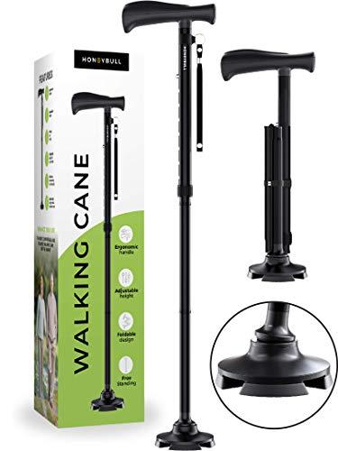 HONEYBULL Walking Cane for Men & Women | Free Standing, Foldable, Pivot Tip [Black]