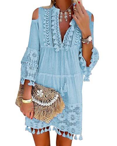 ORANDESIGNE Damen Kleider Strand Elegant Casual A-Linie Kleid Langarm Sommerkleider Boho V-Ausschnitt Quaste Tunika Mini Kleider B Hellblau 42