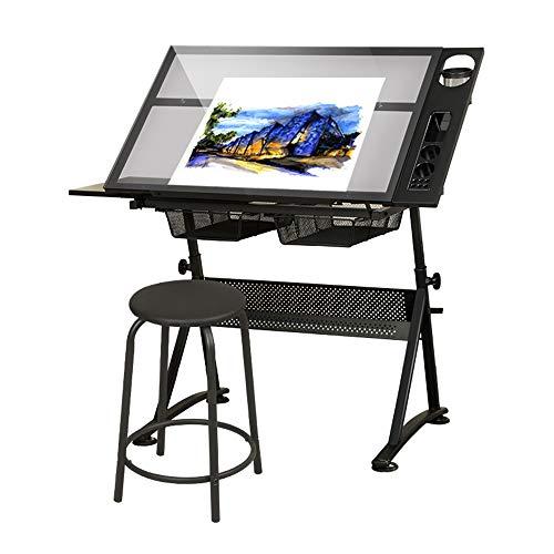 VBARV Höhenverstellbarer Zeichentisch, Entwurfsschreibtisch, Bastelarbeitsplatz, kippbare Tischplatte, mit Hocker und Aufbewahrungsschublade, zum Lesen, Schreiben, Kunst