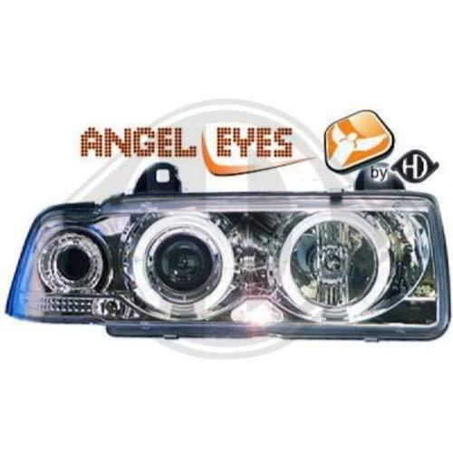 in. pro. 1213681haute définition Head Set LED Angel Eyes avec anneaux et indicateur, chrome Transparent