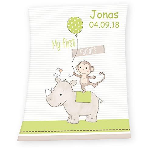 Soft Babydecke mit Namen Datum bestickt Decke 75x100 cm First Friends Nashorn Affe Geschenk zur Taufe zur Geburt Kinderdecke