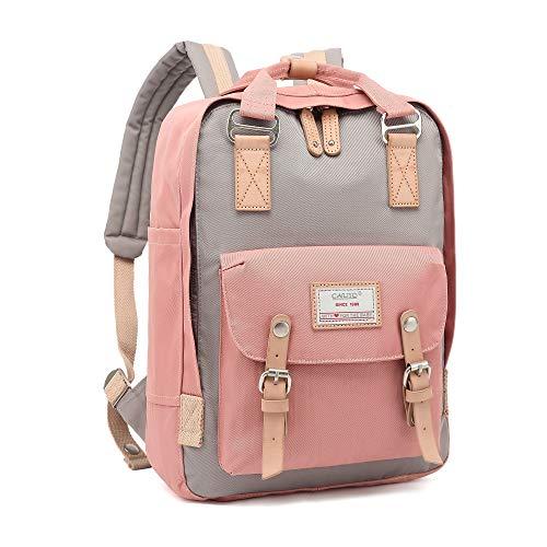 Rucksack Damen groß modern Schulrucksack Mädchen Teenager Tagesrucksack Verschiedene Tragevarianten Rucksack für Uni viele Fächer mit Laptop-Fach Backpack wasserdicht (Pink)