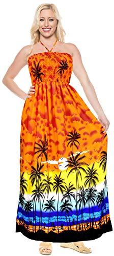 LA LEELA Likre Aloha Hawaiano 3 in 1 Lungo Abito da da Sera Lungo Allacciato al Collo della Damigella d'Onore prendisogonna Beachwear Coprire waer a Fascia Abito Senza Maniche Arancione Signore