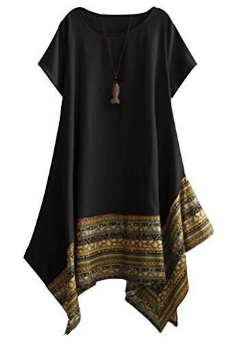 Vogstyle Damen Sommer Kleid Kurzarm Unregelmäßige Saum Ethnisch Mischfarben Baumwolle Leinen Lang Bluse Shirt, XL, Schwarz