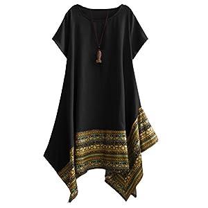 Women's Ethnic Cotton Linen Short/Long Sleeves  Dress