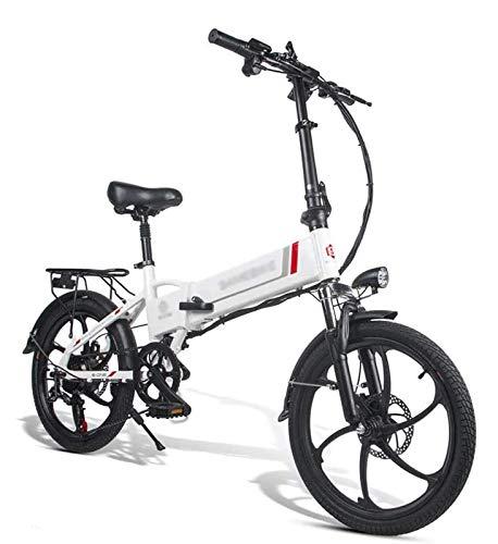 GJJSZ Cinta de Correr Plegable,Bicicleta eléctrica,Bicicleta de ciclomotor eléctrica Plegable con Motor de 48 V 350 W,Color Blanco