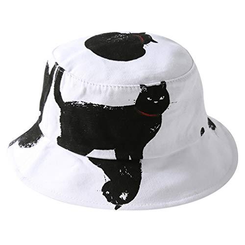 KESYOO Katze Drucken Eimer Hut Niedlichen Tier Packbare Fischerkappe Sommer Breite Krempe Sonnenhut für Outdoor-Reise Strand (Weiß)