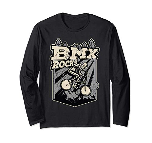 BMX Rocks Esqueleto Jinete De BMX Disfraz De Halloween Manga Larga