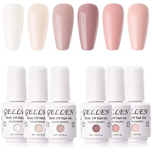 cnd at home gel nail kits Gellen Gel Nail Polish Kit- Blush Tones Series Natural Nudes 6 Colors, Pastel Pinks Gel Polish - Popular Nail Art Design Home Gel Manicure Set