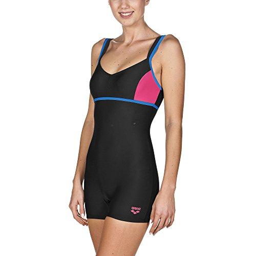 arena Damen Badeanzug Venus (Schnelltrocknend, Langes Bein, Chlor-/Salzwasserbeständig, UV-Schutz UPF 50+), Black-Pix Blue-Fresia Rose (508), 36