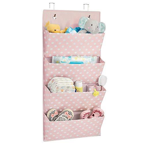 mDesign Organizador colgante con 4 bolsillos – Sistema de almacenamiento para habitación infantil – Estantes colgantes con estampado de puntos para zapatos, accesorios y ropa infantil – rosa/blanco