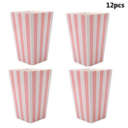 Vektenxi Premium 12pcs Popcorn Boxen Taschen Halter Kino gestreiften Popcorn Boxen Karton Süßigkeiten Container für Party Snacks, Süßigkeiten, Popcorn und Pralinen Rosa
