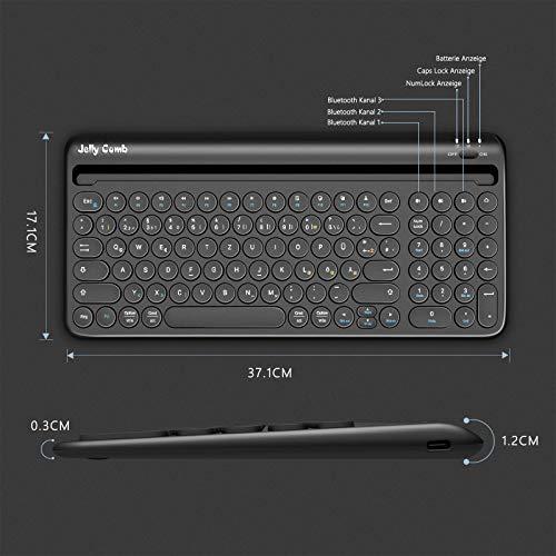Jelly Comb Kabellose Tastatur mit Ziffernblock, Bluetooth Funktastatur mit Dual-Kanal für Android/Windows Tablet, iOS iPad, Smartphone, Handy, Mac OS, QWERTZ Deutsches Layout, Schwarz