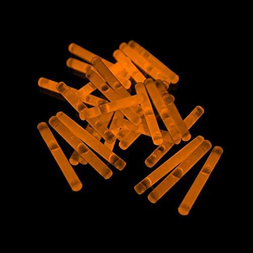 Eva Shop® 50 Premium Micro Mini Knicklichter 40 x 4,5 mm Leuchtstäbe Angelsport Bissanzeiger Glowstick Partylichter LED Luftballon Party Tischdekroration Neon wählen Sie Ihre Farbe (50er Pack Orange)