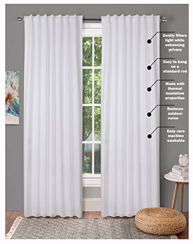 Window Panels Set of 2,Cotton Curtains inTextured Fabric 50x96 -White,Farm House Curtain,Tab Top Curtains,Room Darkening Drapes,Curtains for Bedroom,Curtains for Living Room,Curtains Set of 2