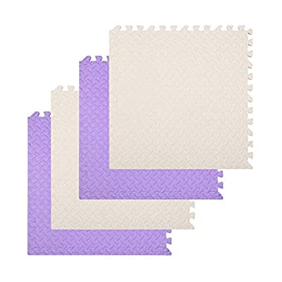 "Foam Mat Interlocking Floor Mats PE Puzzle Tiles for Exercise, Gym, Home, Ground Protector, Protective Flooring, Extensible Underlay Matting, 4Pcs with edge pieces, 24""x24""(2x2ft), Beige & Lite Purple"