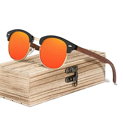 YWSZY Gafas de Sol Estilo de Moda Retro Hecho a Mano Gafas de Sol de Nuez Negro Hombres y Mujeres 100% Polarizado UV400 Lente de la Lente de la Lente Medio Marco (Lenses Color : Red)