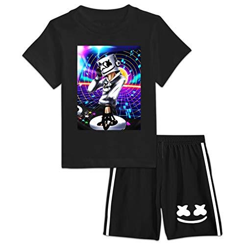 208 Mar-Sh-me-Llo Face Kurzarm T-Shirt und Shorts Sets Süßer Sommeranzug Kleidung für Jungen Mädchen Schwarz