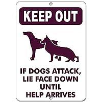 壁の装飾のためのアルミニウム金属看板、助けがMに到着するまで犬がうそをつく場合は横向きにしておく、ビンテージ金属ティンサインプラーク壁アートポスターカフェバーパブビール