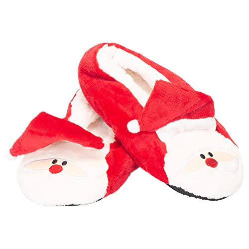 Santa Claus Plush Sherpa-Lined Women's One Size Polyester Christmas Slippers
